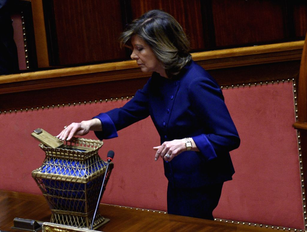 ROME, March 24, 2018 - The newly elected Senate speaker Maria Elisabetta Alberti Casellati votes at the senate in Rome, Italy, on March 24, 2018. Italy's center-right bloc and the anti-establishment ... - Maria Elisabetta Alberti Casellati