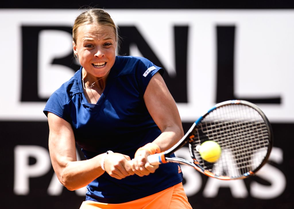ROME, May 18, 2017 - Estonia's Anett Kontaveit returns the ball during the second round match of women's singles against Angelique Kerber of Germany at the Italian Open tennis tournament in Rome, ...