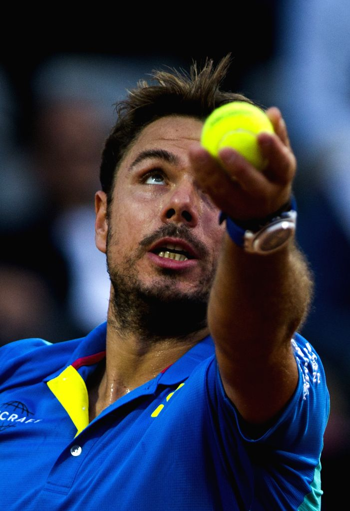 ROME, May 18, 2017 - Stan Wawrinka of Switzerland serves during the second round match of men's singles against Benoit Paire of France at the Italian Open tennis tournament in Rome, Italy, May 17, ...