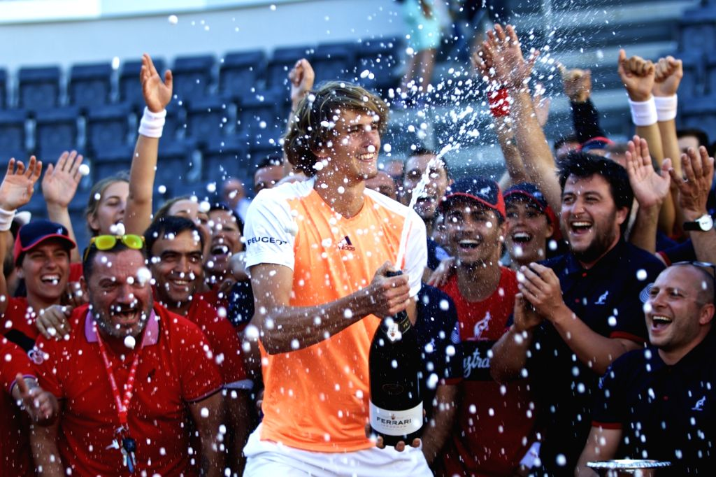 ROME, May 22, 2017 - Alexander Zverev of Germany celebrates after he won the final match of men's singles against Novak Djokovic of Serbia at the Italian Open tennis tournament in Rome, Italy, May ...