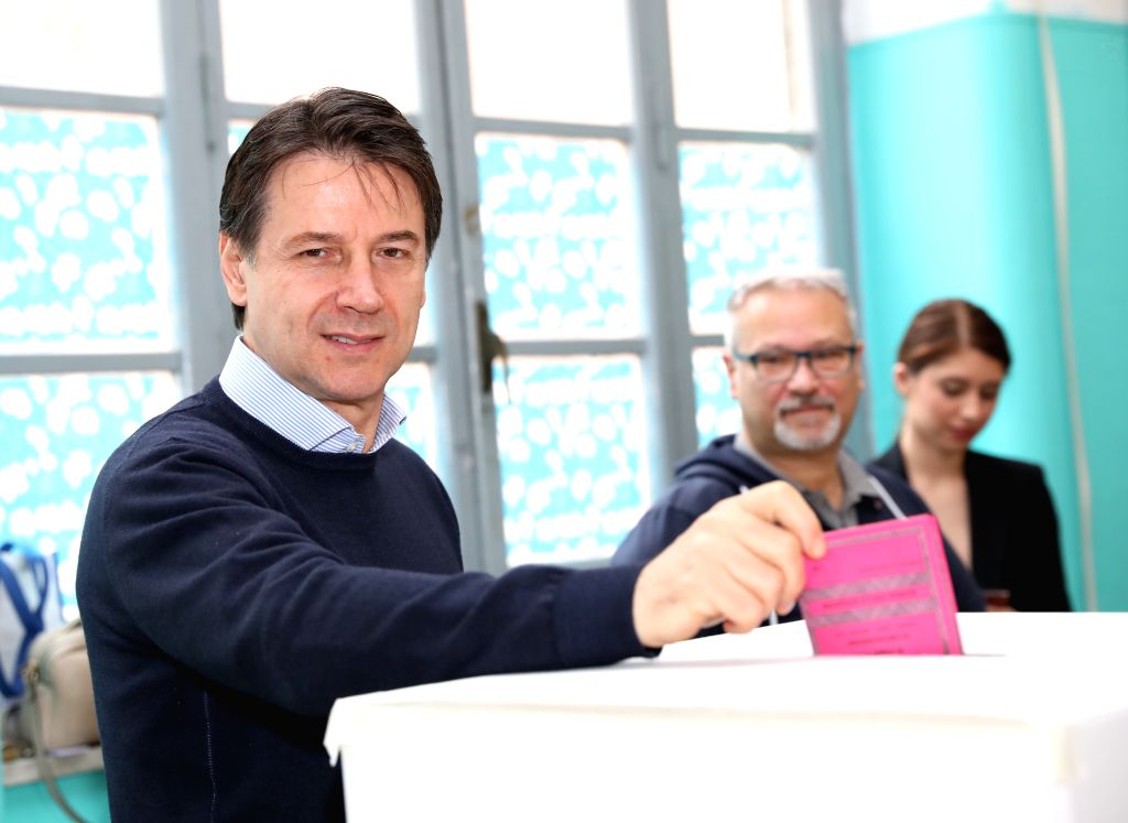 ROME, May 26, 2019 - Italian Prime Minister Giuseppe Conte votes at a polling station in Rome, Italy, May 26, 2019. The European Parliament (EU) elections started in Italy on Sunday. - Giuseppe Conte