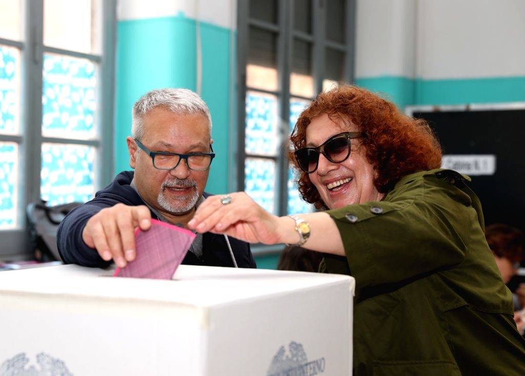 ROME, May 26, 2019 - Voters vote at a polling station in Rome, Italy, May 26, 2019. The European Parliament (EU) elections started in Italy on Sunday.