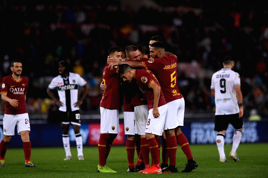 ROME, May 27, 2019 - Players of AS Roma celebrate during a Serie A soccer match between AS Roma and Parma in Rome, Italy, May 26, 2019. AS Roma won 2-1.