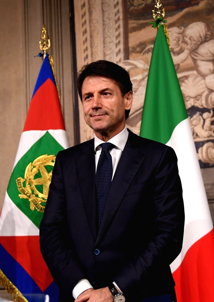 ROME, May 31, 2018 - Giuseppe Conte attends a press conference after meeting with Italian President Sergio Mattarella in Rome, Italy, on May 31, 2018. Italian law professor Giuseppe Conte was ...