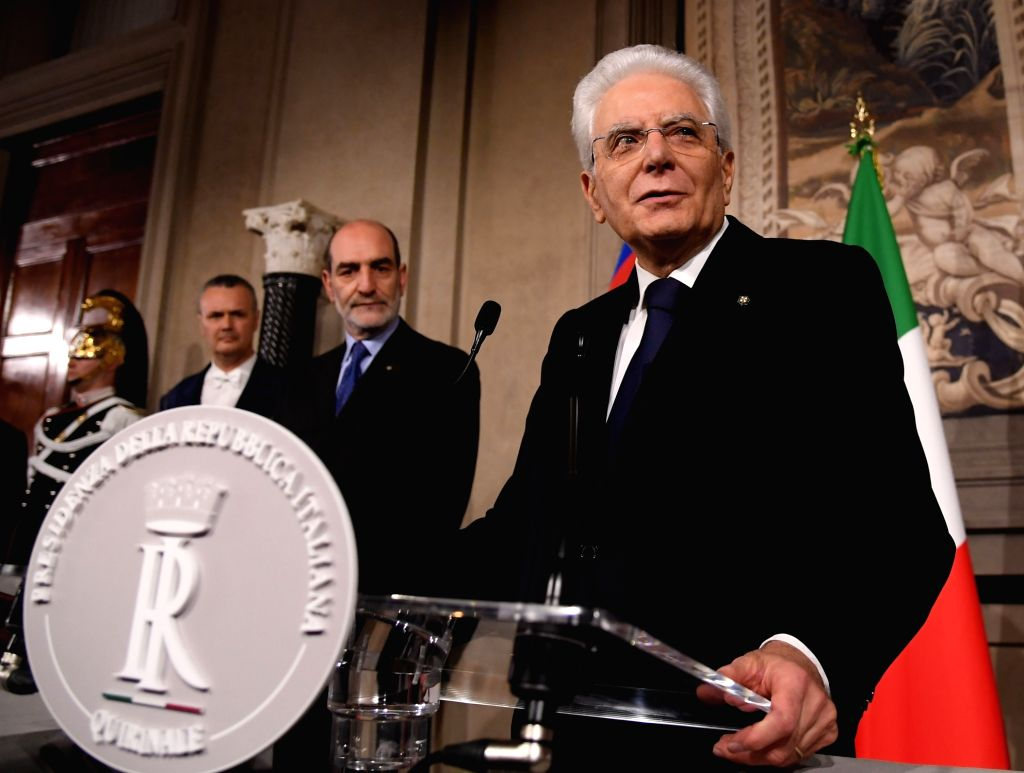 ROME, May 31, 2018 - Italian President Sergio Mattarella (Front) addresses a press conference in Rome, Italy, on May 31, 2018. Italian law professor Giuseppe Conte was reappointed as Prime ...