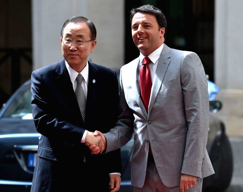 Italian Prime Minister Matteo Renzi (R) meets with visiting UN Secretary-General Ban Ki- moon in Rome, Italy on May 7, 2014. Ban ki-moon is in the Italian capital for a .