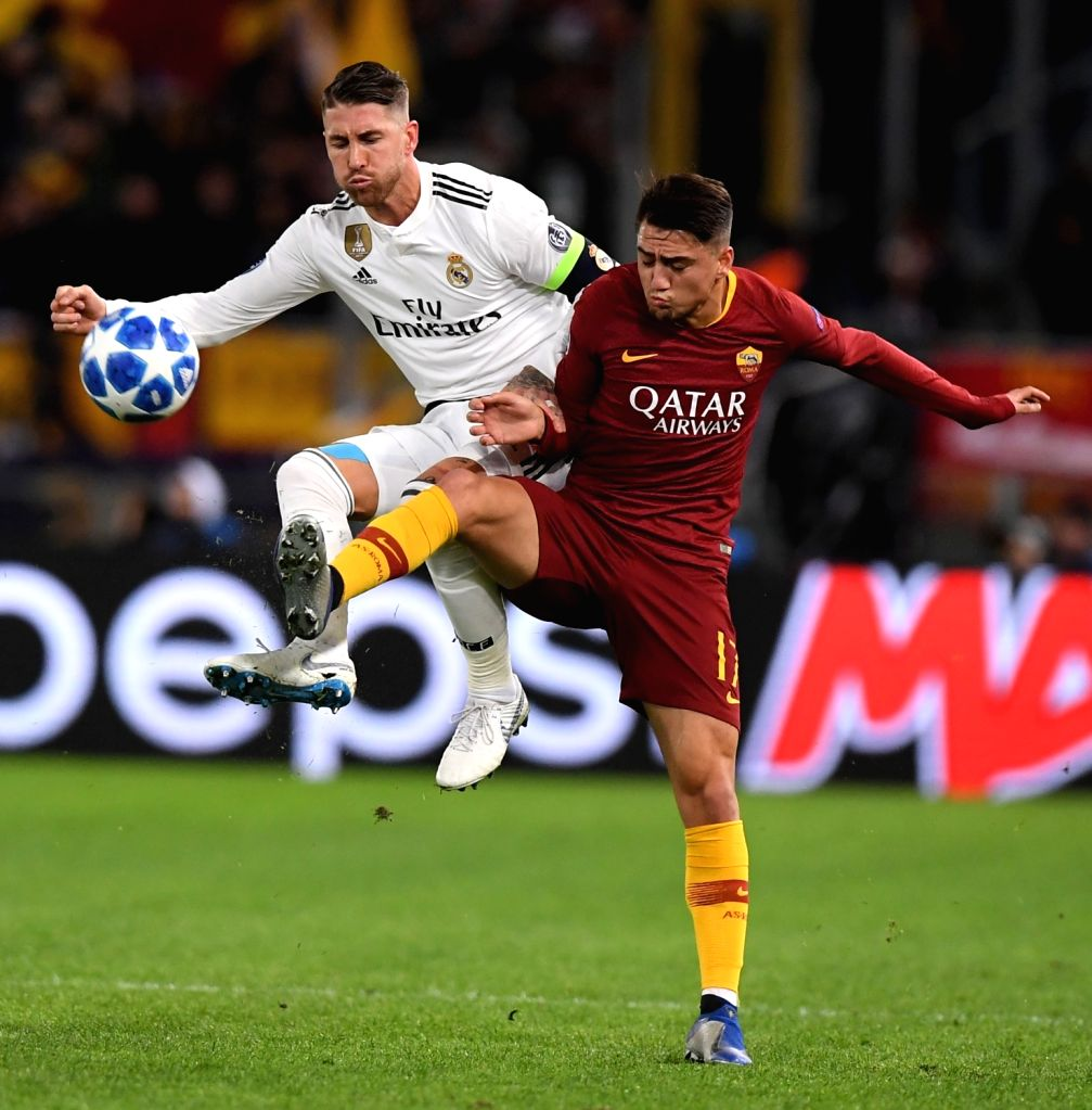 ROME, Nov. 28, 2018 - As Roma's Cengiz Under (R) vies with Real Madrid's Sergio Ramos during a group G match of UEFA Champions League between Roma and Real Madrid, in Rome, Italy, Nov. 27, 2018. Real ...