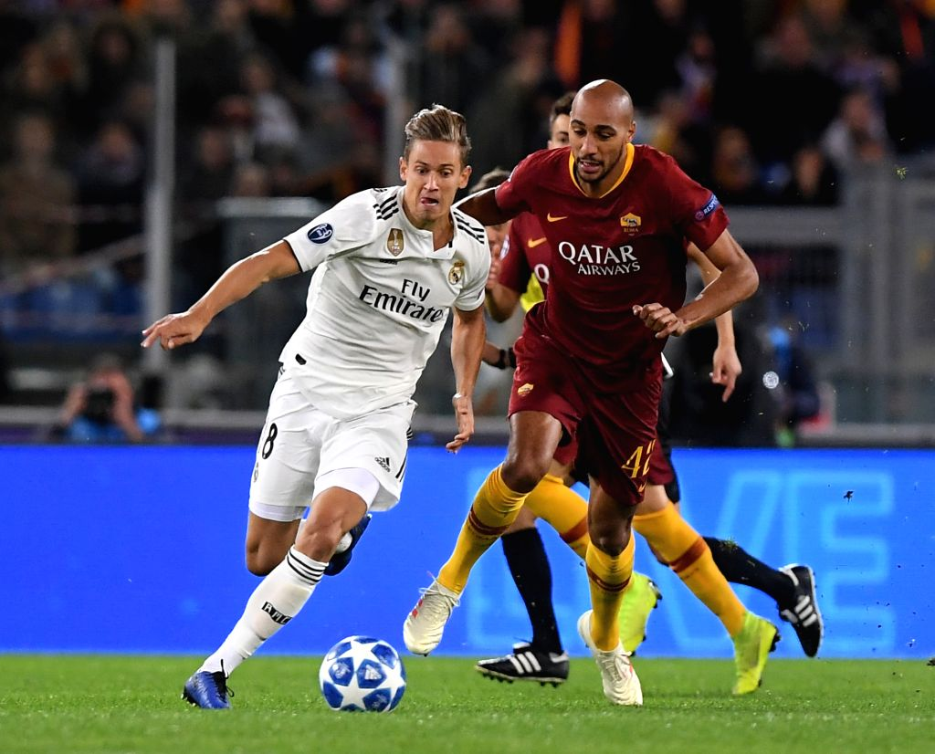 ROME, Nov. 28, 2018 - As Roma's Steven Nzonzi (R) vies with Real Madrid's Marcos Llorente during a group G match of UEFA Champions League between Roma and Real Madrid, in Rome, Italy, Nov. 27, 2018. ...
