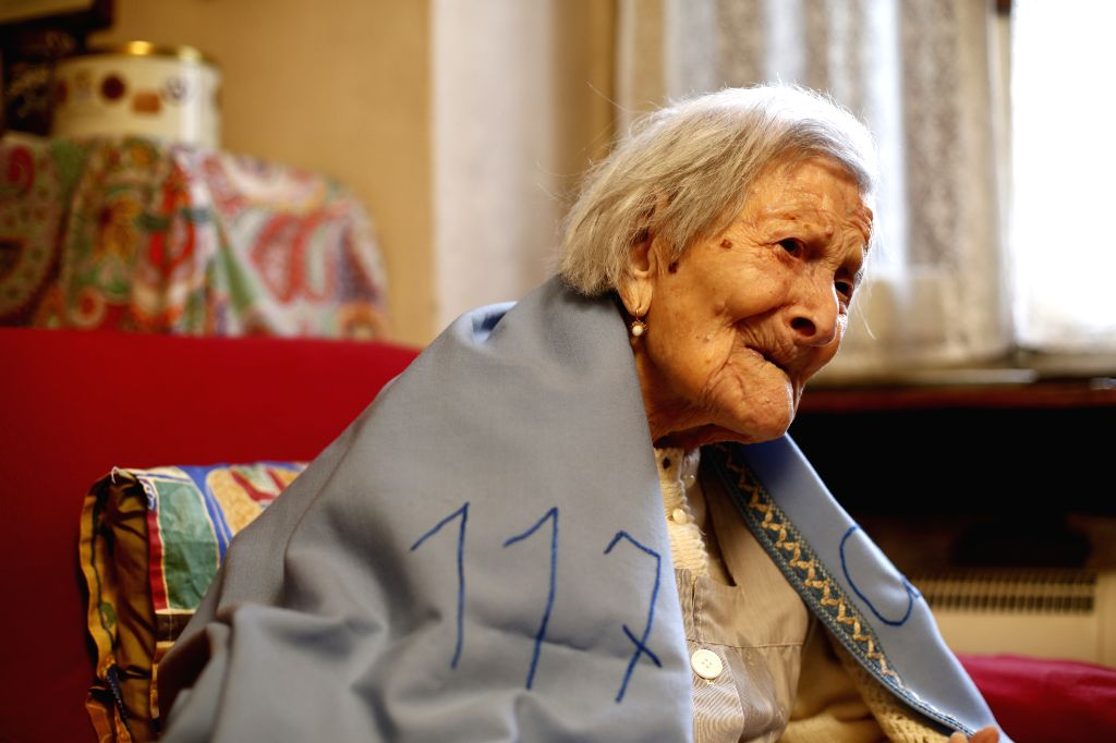 ROME, Nov. 30, 2016 - Emma Morano is seen at her 117th birthday in Verbania, northwest Italy, on Nov. 29, 2016. The woman considered as the world's oldest living person turned 117 in northwest Italy ...