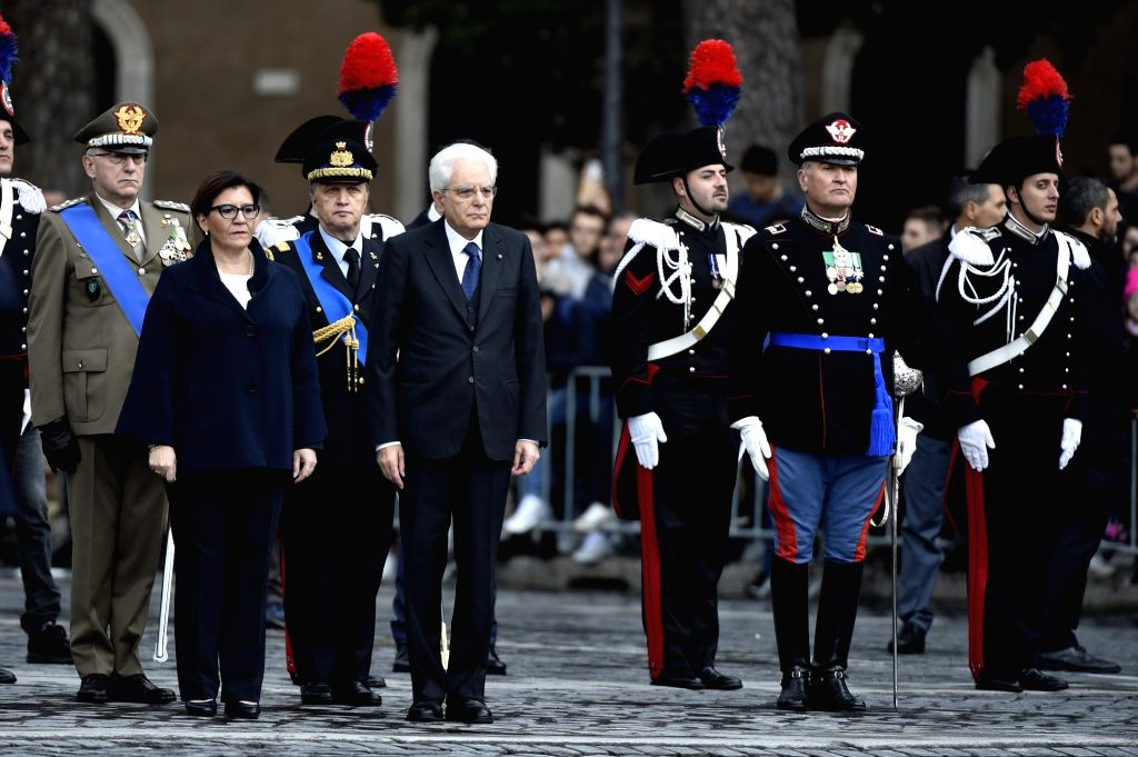 ROME, Nov. 4, 2018 - Italy's President Sergio Mattarella (2nd L, front) attends a ceremony marking the National Unity and Armed Forces Day in Rome, Italy, Nov. 4, 2018.