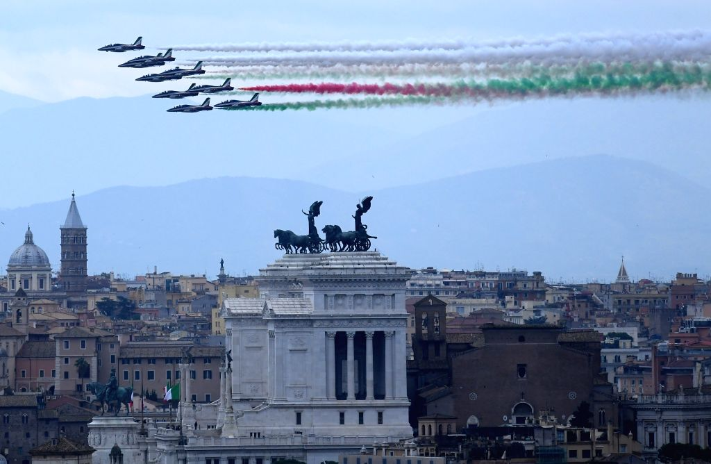 ROME, Nov. 4, 2018 - The Italian aerobatic squad Frecce Tricolori performs during a ceremony marking the Italy's National Unity and Armed Forces Day in Rome, Italy, Nov. 4, 2018.