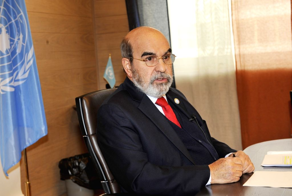 ROME, Nov. 4, 2018 (Xinhua) -- Jose Graziano da Silva, Director-General of the UN Food and Agriculture Organization (FAO), speaks during an interview with Xinhua in Rome, Italy, on Oct. 26, 2018. China has made great achievements in curbing hunger an