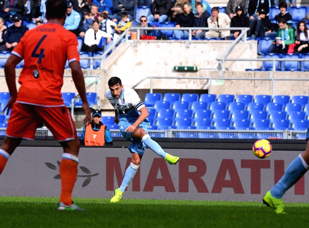 ROME, Nov. 5, 2018 - Lazio's Danilo Cataldi scores during the the Serie A soccer match between Lazio and Spal in Rome, Italy, Nov. 4, 2018. Lazio won 4-1.