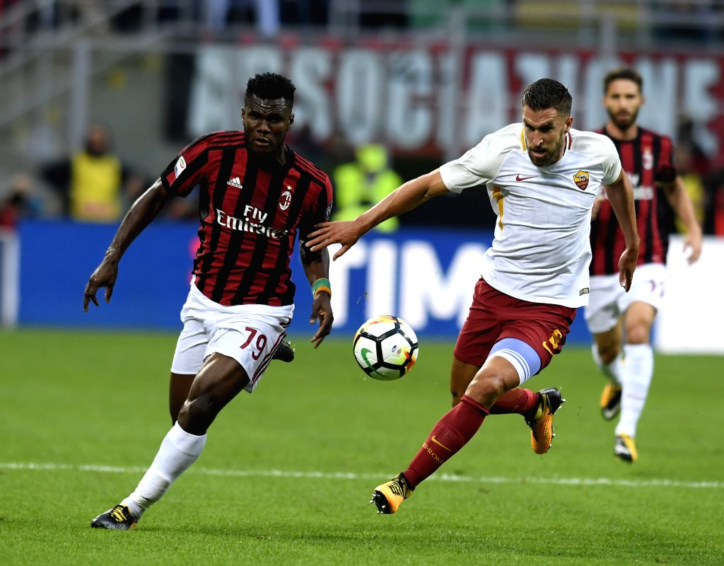 ROME, Oct. 2, 2017 - Kevin Strootman (R) of Roma vies with Frank Kessie of AC Milan during a Serie A soccer match between AC Milan and Roma in Milan, Italy, Otc. 1, 2017. Roma won 2-0.
