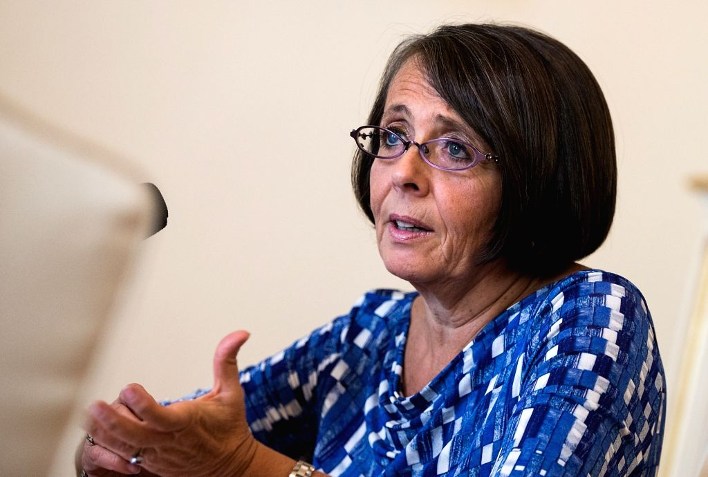 ROME, Oct. 24, 2017 (Xinhua) -- Marina Sereni, vice president of Italy's lower house of parliament, receives an interview in Rome, Italy, Oct. 18, 2017. The goals set in the report of the 19th National Congress of the Communist Party of China (CPC) p