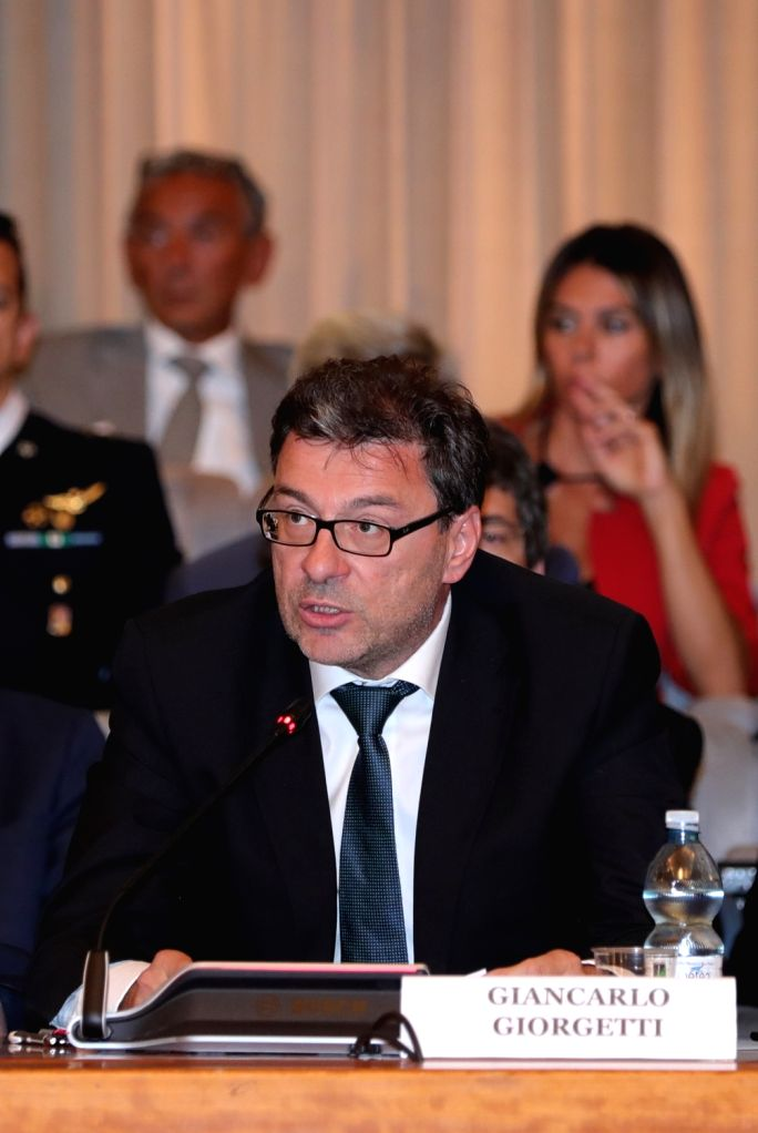 ROME, Sept. 17, 2018 - Giancarlo Giorgetti, President of Italy's Interministerial Committee on Space (COMINT), delivers a speech during a conference in Rome, Italy, Sept. 17, 2018. Space technology ...