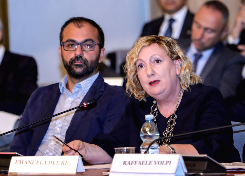 ROME, Sept. 17, 2018 - Italy's Deputy Foreign Minister Emanuela Claudia Del Re (R) delivers a speech during a conference in Rome, Italy, Sept. 17, 2018. Space technology and exploration can aid ... - Emanuela Claudia Del R
