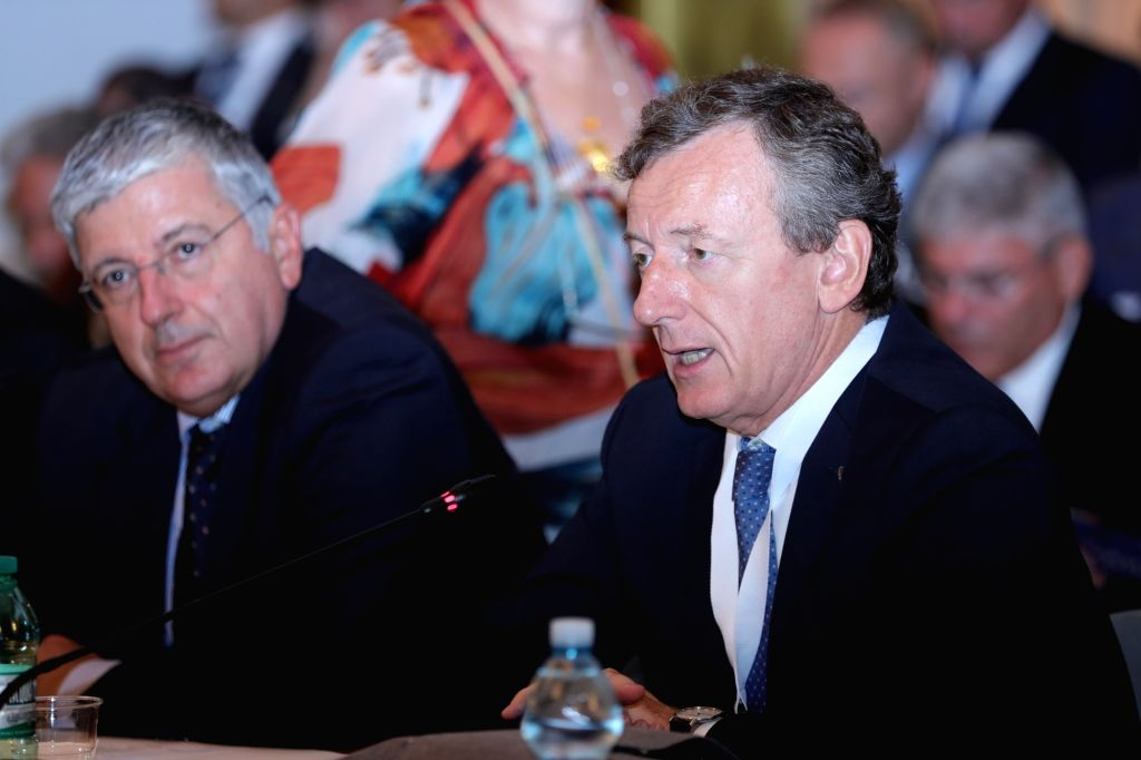ROME, Sept. 17, 2018 - Roberto Battiston (R), President of the Italian Space Agency (ASI), delivers a speech during a conference in Rome, Italy, Sept. 17, 2018. Space technology and exploration can ...