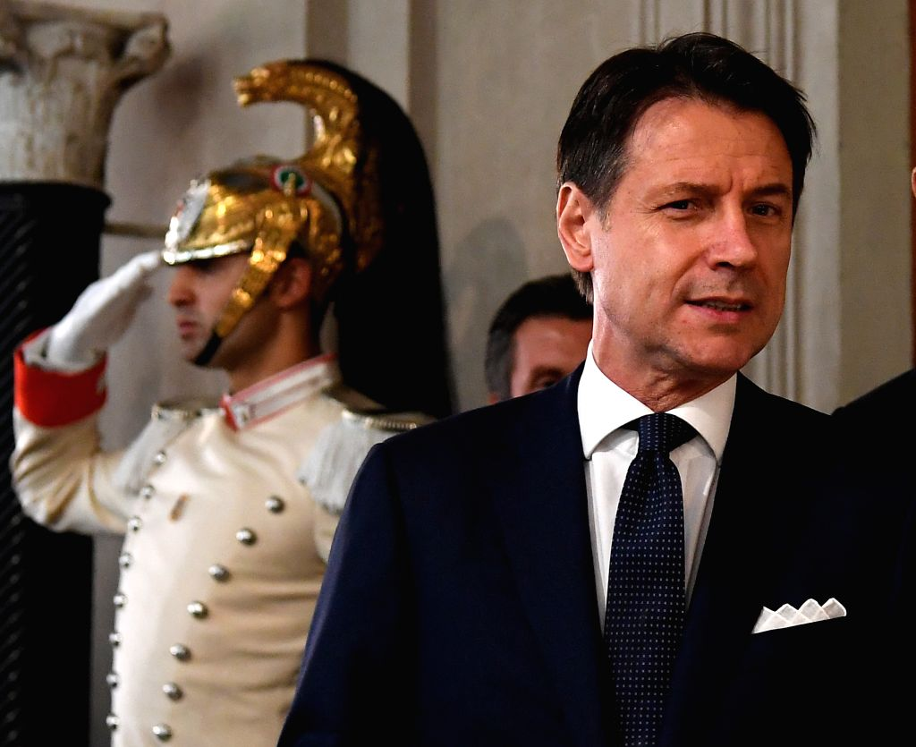 ROME, Sept. 4, 2019 - Giuseppe Conte (Front) addresses the media after he talks with Italian President Sergio Mattarella in Rome, Italy, on Sept. 4, 2019. The last major hurdle that could have ...