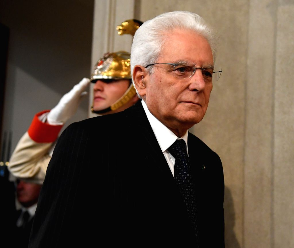 ROME, Sept. 4, 2019 - Italian President Sergio Mattarella arrives to speak to the media after a meeting with Giuseppe Conte in Rome, Italy, on Sept. 4, 2019. The last major hurdle that could have ...