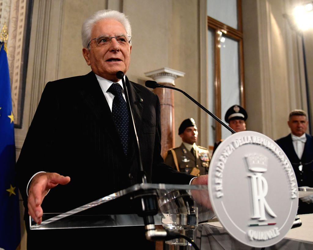 ROME, Sept. 4, 2019 - Italian President Sergio Mattarella speaks to the media after a meeting with Giuseppe Conte in Rome, Italy, on Sept. 4, 2019. The last major hurdle that could have blocked ...