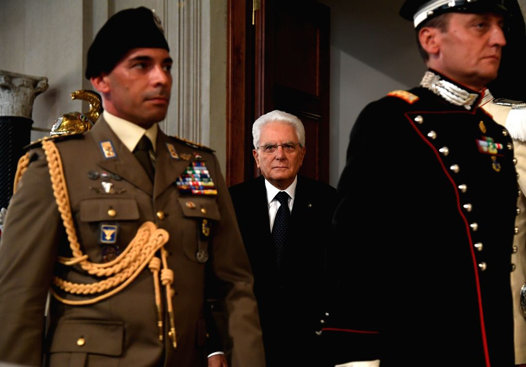 ROME, Sept. 4, 2019 - Italian President Sergio Mattarella (C) arrives to speak to the media after a meeting with Giuseppe Conte in Rome, Italy, on Sept. 4, 2019. The last major hurdle that could have ...