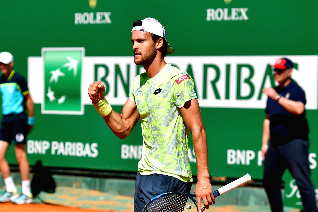 ROQUEBRUNE-CAP-Joao Sousa celebrates after the first round match of 2017 Monte-Carlo Masters against Florian Mayer of Germany in Roquebrune-Cap-Martin, on April 16, ...