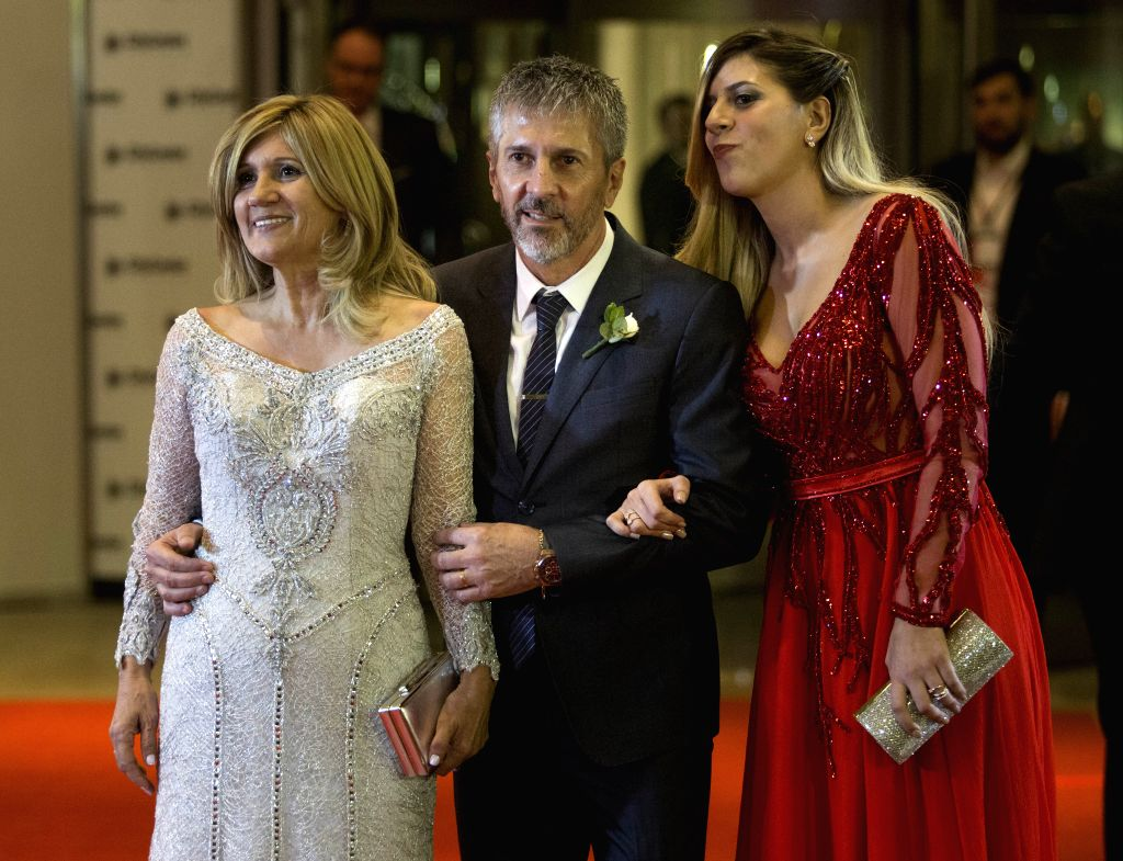 ROSARIO, July 1, 2017 - Argentine soccer player Lionel Messi's parents Jorge(C) and Celia(L) and his sister Maria Sol pose at their wedding in Rosario, Argentina, June 30, 2017.
