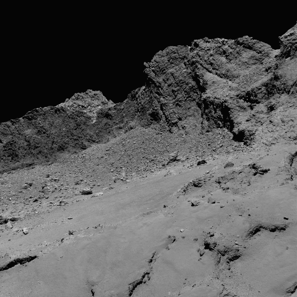 Rosetta spacecraft captured this image of comet 67P/Churyumov-Gerasimenko on Friday, from an altitude of about 16 kilometres above the surface during the spacecraft?s controlled descent. Photo: ESA