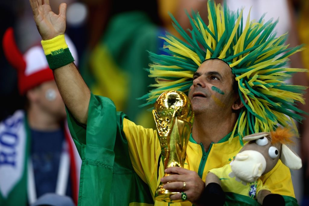 ROSTOV-ON-A fan of Brazil reacts prior to a group E match between Brazil and Switzerland at the 2018 FIFA World Cup in Rostov-on-Don, Russia, June 17, 2018. The match ...