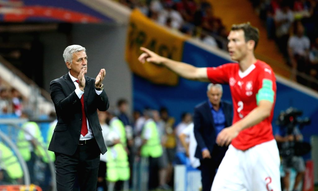 ROSTOV-ON-Head coach Vladimir Petkovic (L) of Switzerland reacts during a group E match between Brazil and Switzerland at the 2018 FIFA World Cup in Rostov-on-Don, ...