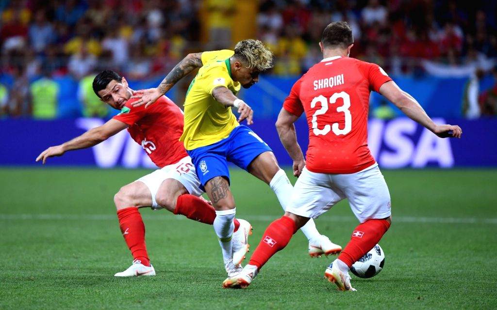 ROSTOV-ON-Neymar (C) of Brazil competes during a group E match between Brazil and Switzerland at the 2018 FIFA World Cup in Rostov-on-Don, Russia, June 17, 2018. The ...