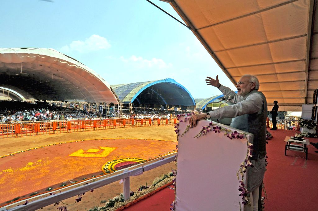 Prime Minister Narendra Modi addresses during a programme organised at Rourkela Steel Plant to dedicate MT Expansion of the Plant to the nation, in Odisha on April 1, 2015. - Narendra Modi