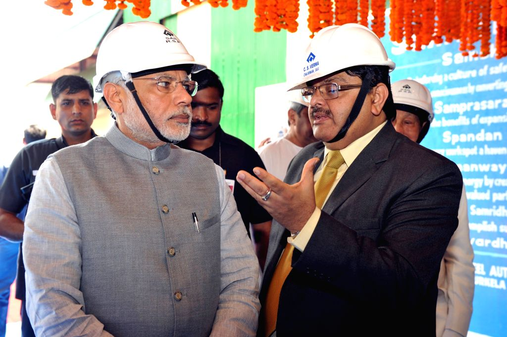Prime Minister Narendra Modi visits the Rourkela Steel Plant in Odisha on April 01, 2015. - Narendra Modi