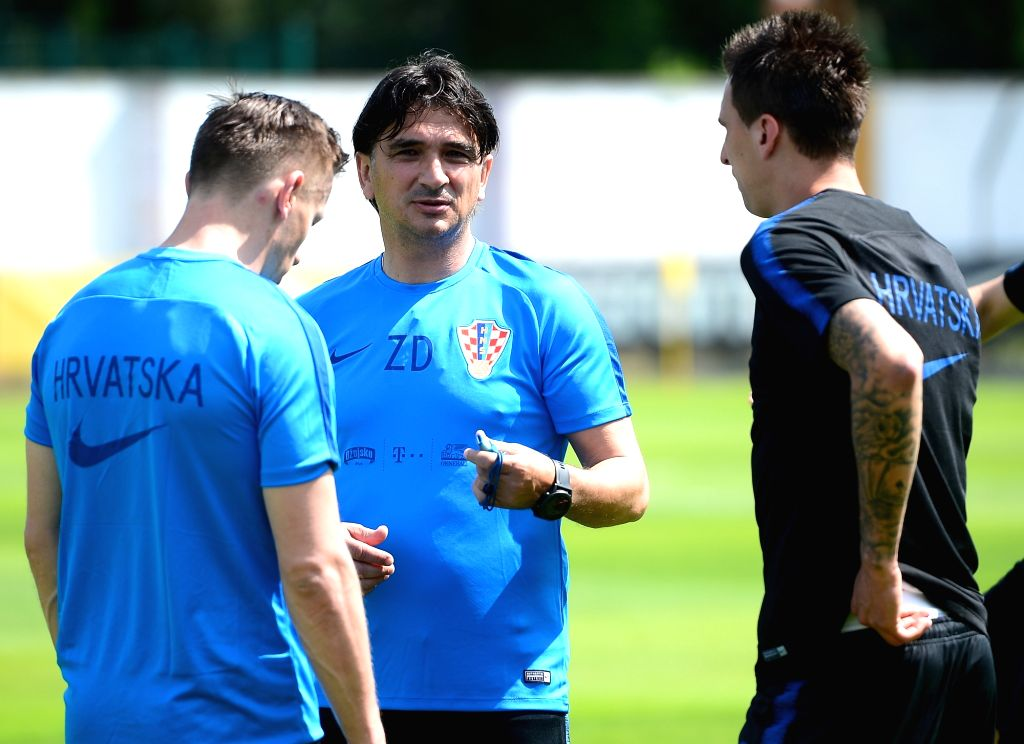 ROVINJ, May 28, 2018 - Zlatko Dalic (C), head coach of Croatian national team, reacts during a training session for 2018 FIFA  World Cup in Rovinj, Croatia, on May 27, 2018.