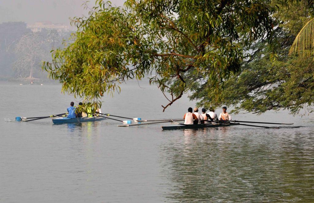 Rowers practice at Rabindra Sarobar in Kolkata on Dec 8, 2015