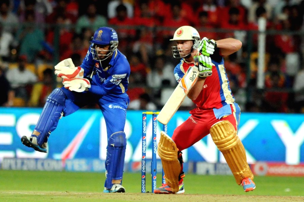 Royal Challengers Bangalore batsman AB De Villiers in action during 35th match of IPL 2014 between Rajasthan Royals and Royal Challengers Bangalore at  M Chinnaswamy Stadium in Bangalore on May 11, ..