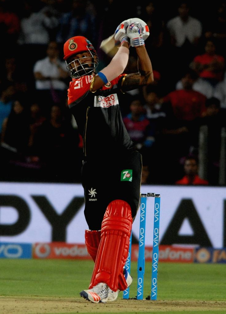 Royal Challengers Bangalore batsman Lokesh Rahul in action during an IPL match between Rising Pune Supergiants and Royal Challengers Bangalore at Maharashtra Cricket Association Stadium in Pune ... - Lokesh Rahul