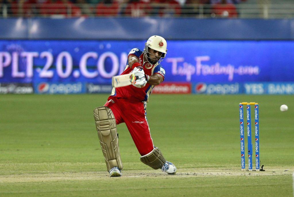 Royal Challengers Bangalore batsman Yuvraj Singh in action during the 18th match of IPL 2014 between Royal Challengers Bangalore and Kings XI Punjab, played at Dubai International Cricket Stadium in . - Yuvraj Singh