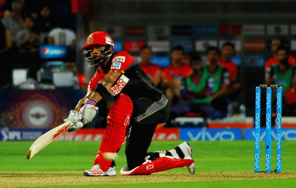 Royal Challengers Bangalore captain Virat Kohli in action during an IPL match between Rising Pune Supergiants and Royal Challengers Bangalore at Maharashtra Cricket Association Stadium in Pune ... - Virat Kohli