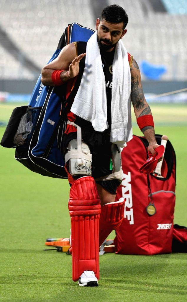 Royal Challengers Bangalore captain Virat Kohli during a practice session at Eden Gardens in Kolkata on April 22, 2017. - Virat Kohli