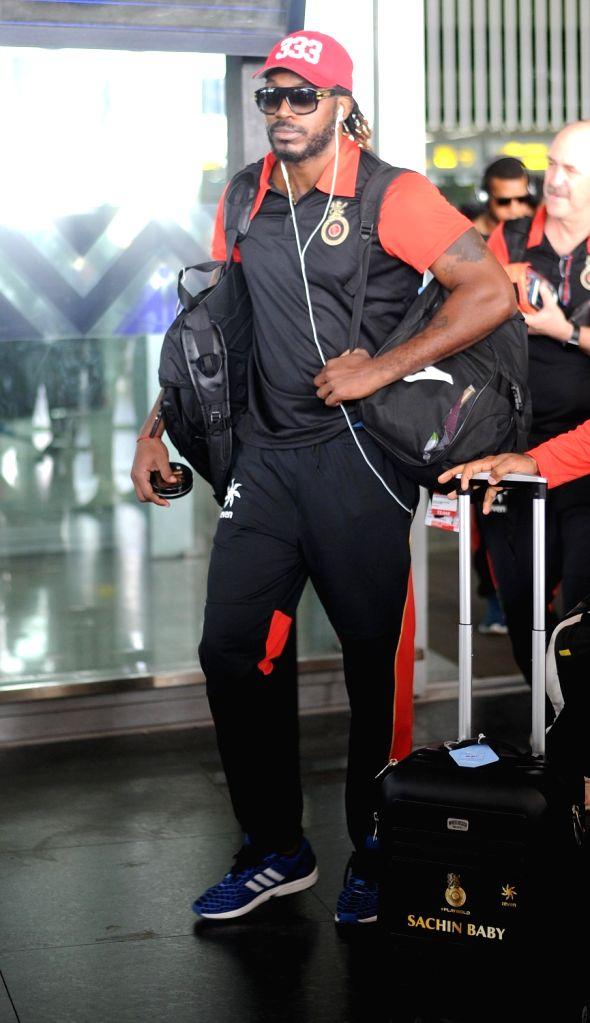 Royal Challengers Bangalore player Chris Gayle arrives at Kolkata airport on May 15, 2016.