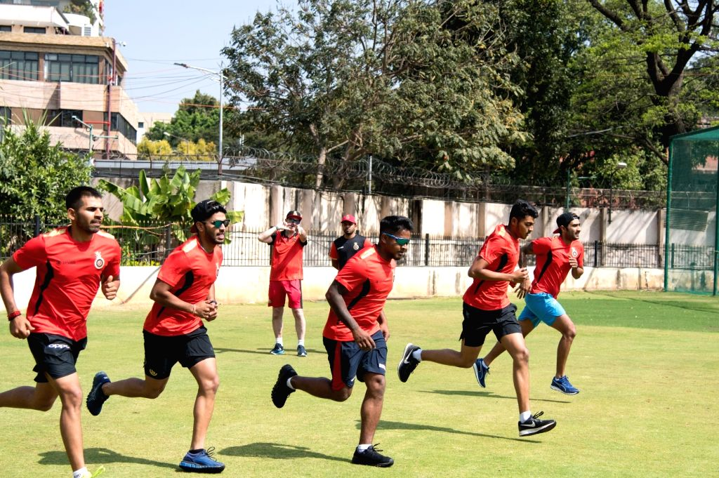 Royal Challengers Bangalore players at a five-day conditioning camp under the guidance of coaches Gary Kirsten and Ashish Nehra at M. Chinnaswamy Stadium in Bengaluru on Feb 4, 2019. - Ashish Nehra