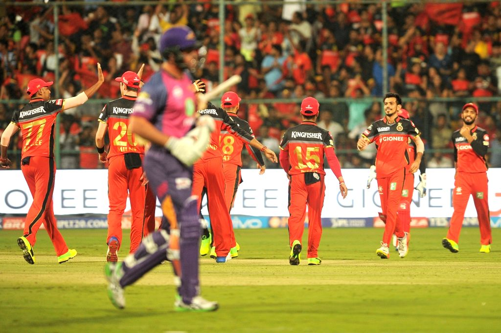 Royal Challengers Bangalore  players celebrate fall of Shardul Thakur's wicket during an IPL 2017 match between Royal Challengers Bangalore and Rising Pune Supergiant at M Chinnaswamy ...