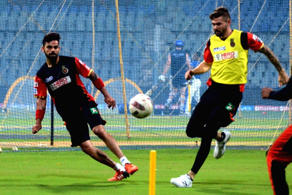 Royal Challengers Bangalore players during a practice session at Wankhede Stadium in Mumbai, on April 19, 2016.