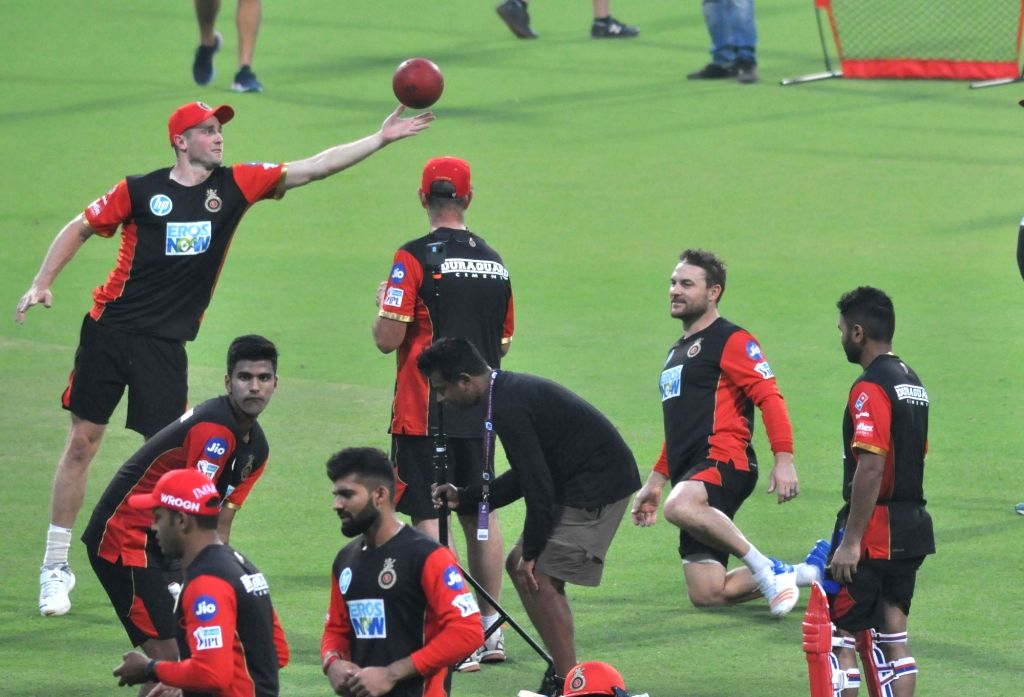 Royal Challengers Bangalore (RCB) players during a practice session at Eden Gardens in Kolkata on April 6, 2018.