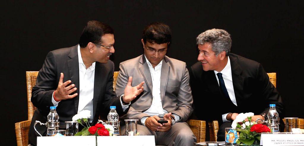 RP-Sanjiv Goenka Group Chairman Sanjiv Goenka, former cricketer Sourav Ganguly and others during the launch of Atletico de Kolkata in Kolkata on May 7, 2014. - Sourav Ganguly and Sanjiv Goenka