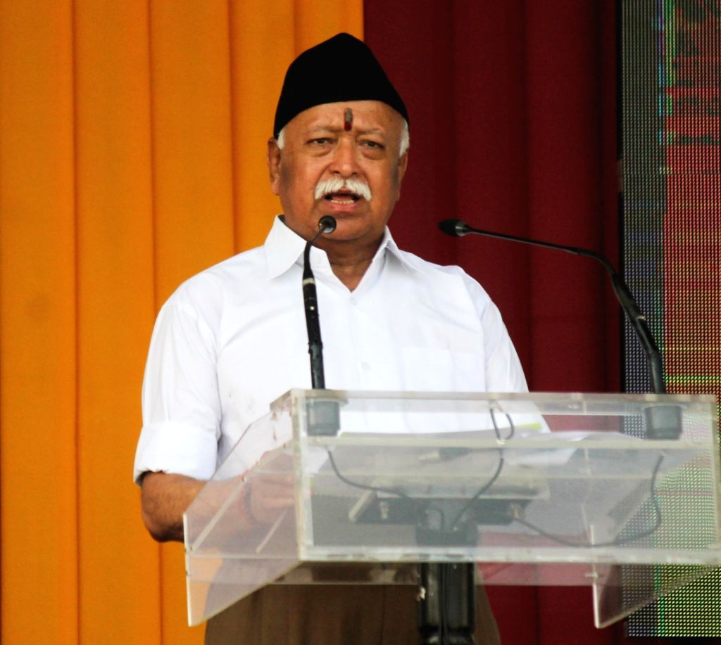RSS chief Mohan Bhagwat addresses during a programme organised on Vijaya Dashmi at RSS Headquarters in Nagpur, on Sept 30, 2017.