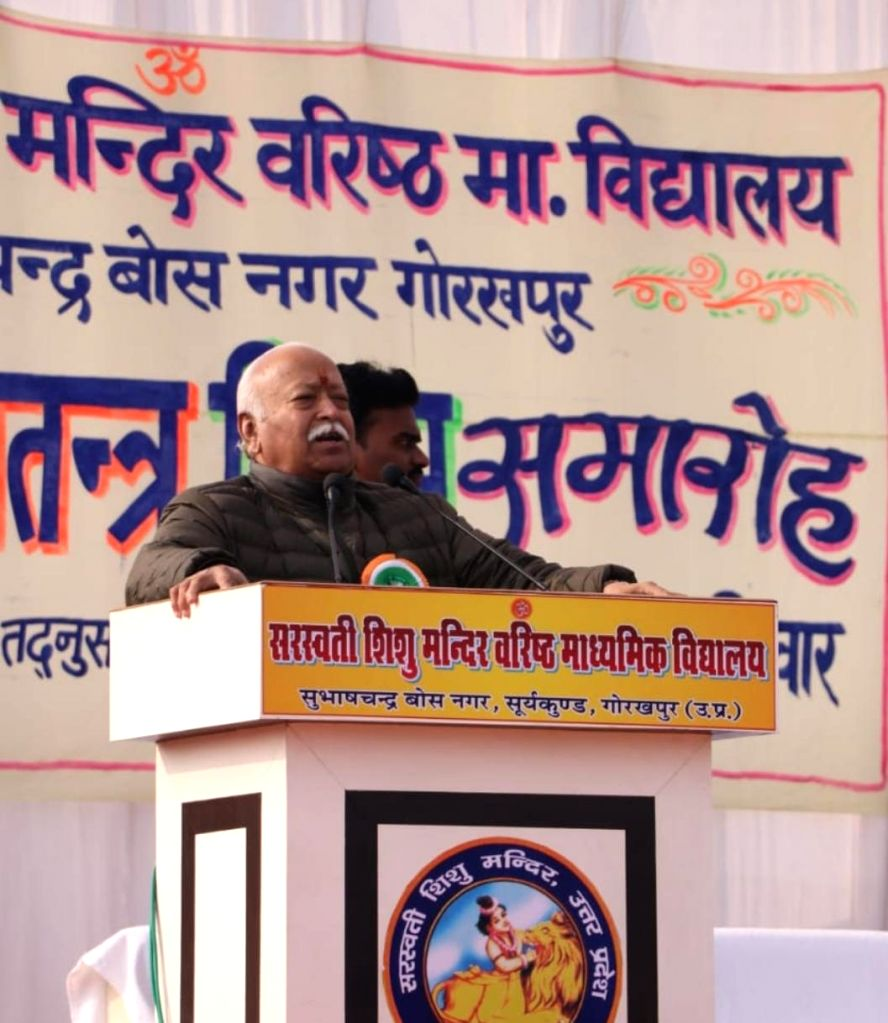 RSS chief Mohan Bhagwat addresses during the 71st Republic Day celebrations in Gorakhpur on Jan 26, 2020.