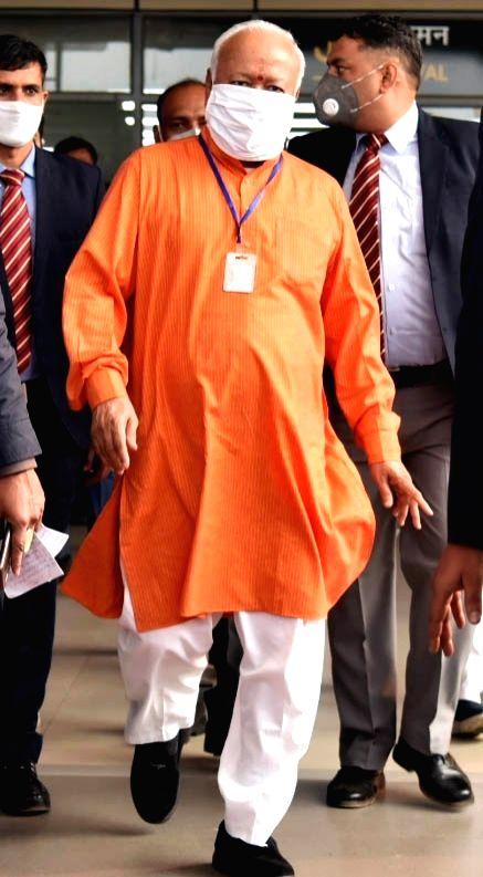RSS chief Mohan Bhagwat arrives at the Jay Prakash Narayan International Airport in Patna on Dec 4, 2020.
